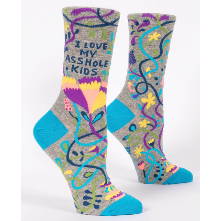 Blue Q Crew Socks - I Love My Asshole Kids