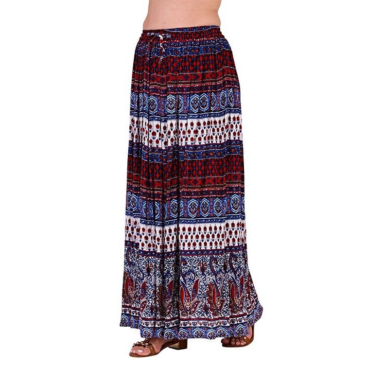 Navy & Red Tribal Print Maxi Skirt