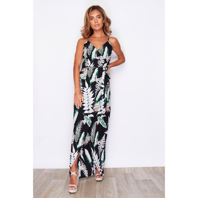 Mia Wrap Maxi Dress - Black & Green Tropical