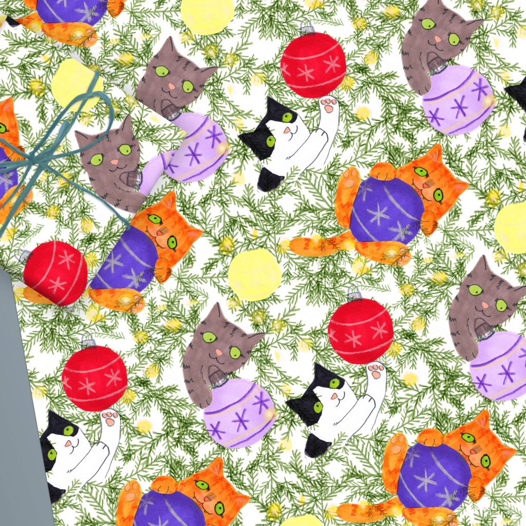 Christmas Tree Cats Wrapping Paper Sheet