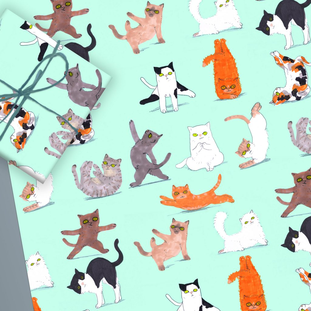 Yoga Cats Wrapping Paper Sheet