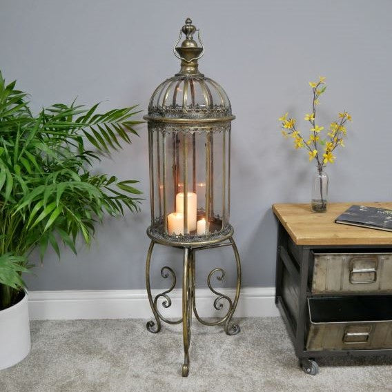 Large Brass Lantern On Stand