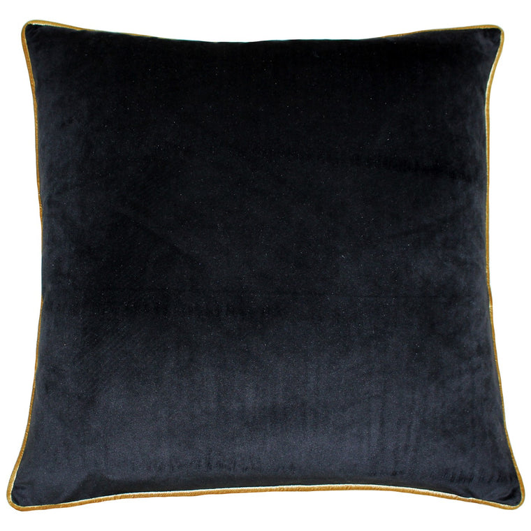 Meridian Velvet Cushion - Black & Gold