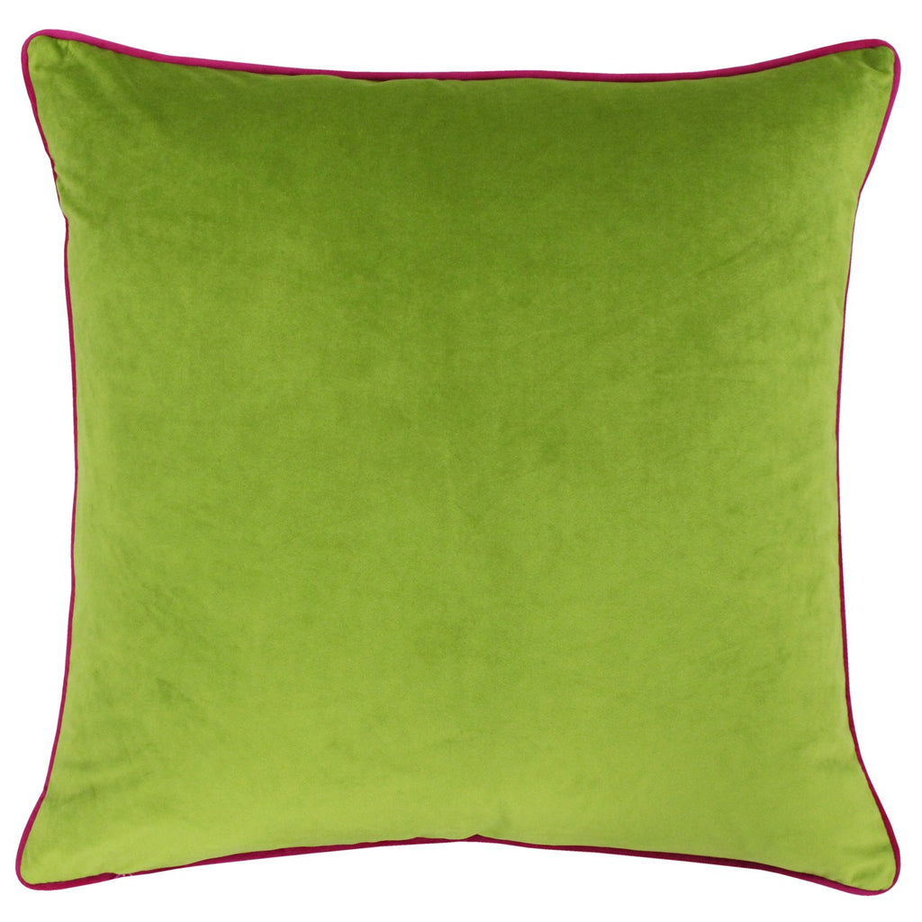 Meridian Velvet Cushion - Lime & Hot Pink