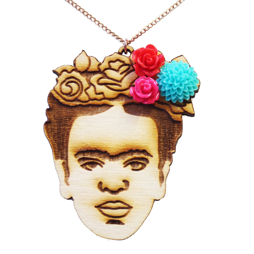 Wooden Frida Kahlo Necklace