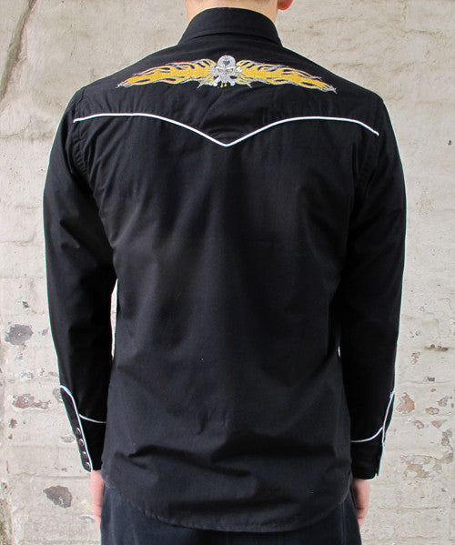 Mens Cowboy Shirt - Black with Yellow Skull & Flame Embroidery
