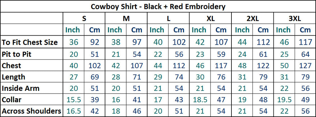 Mens Cowboy Shirt - Black with Red Skull & Flame Embroidery