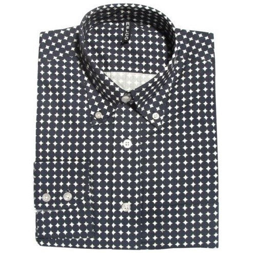 Men's Button Down Collar Shirt - White Black Circles