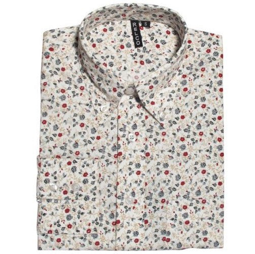 Men's Button Down Collar Shirt - Red Blue Yellow Floral
