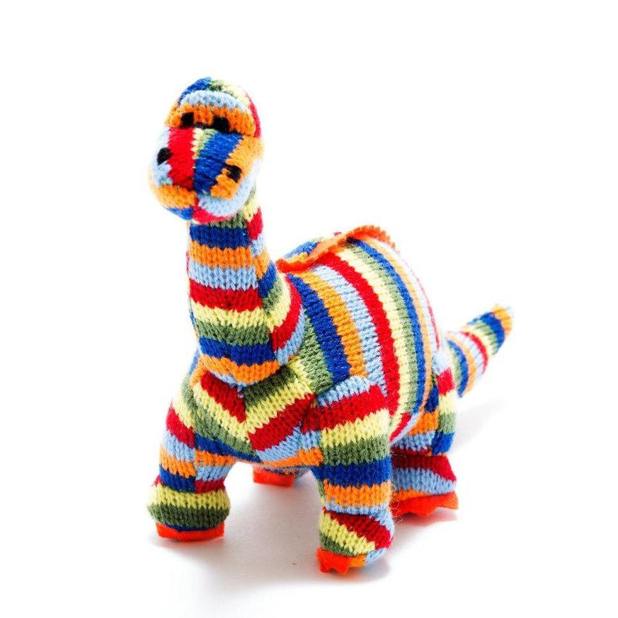 Small Stripe Diplodocus Knitted Dinosaur Rattle Toy