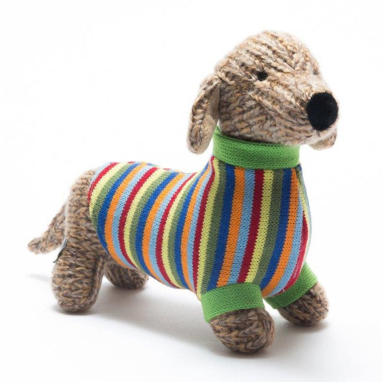 Sausage Dog Stripe Knitted Dog Soft Toy