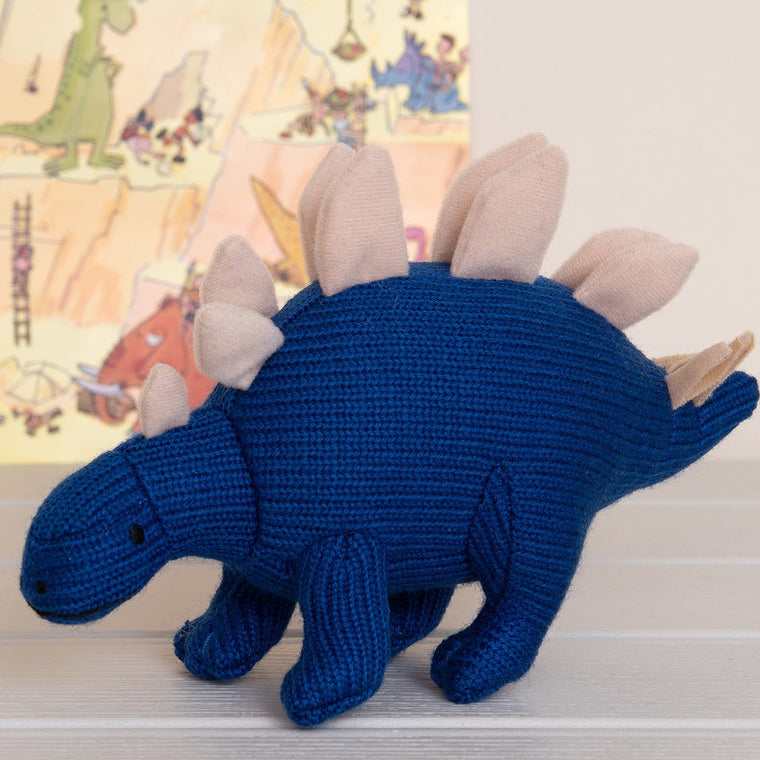 Spike Blue Stegosaurus Knitted Dinosaur Rattle Soft Toy