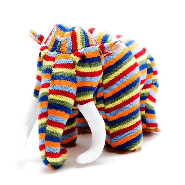 Colourful Stripe Knitted Mammoth Soft Toy