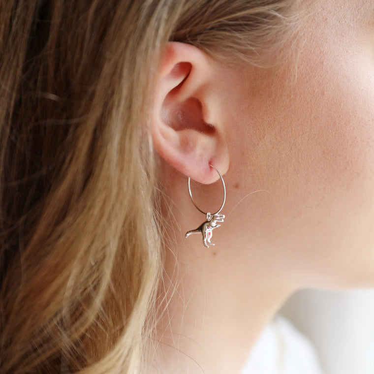 Dinosaur Hoop Earrings - Silver T-Rex