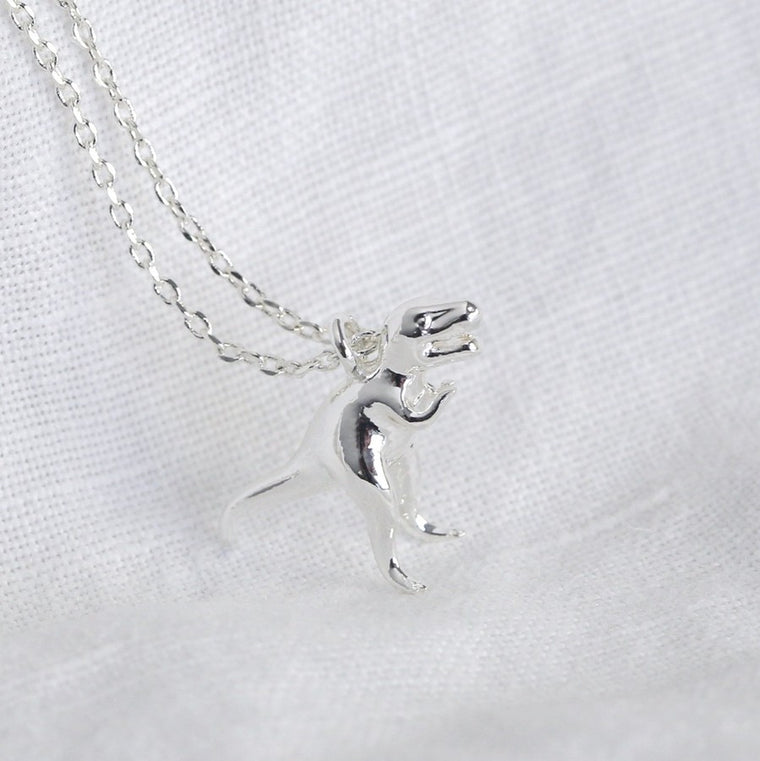 Dinosaur Charm Necklace - Silver T-Rex