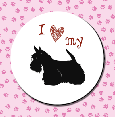 I love my Scottie Magnet or Pin - Granny Kate's