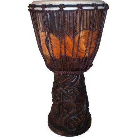 Djembe with Dragon Carving - Granny Kate's
