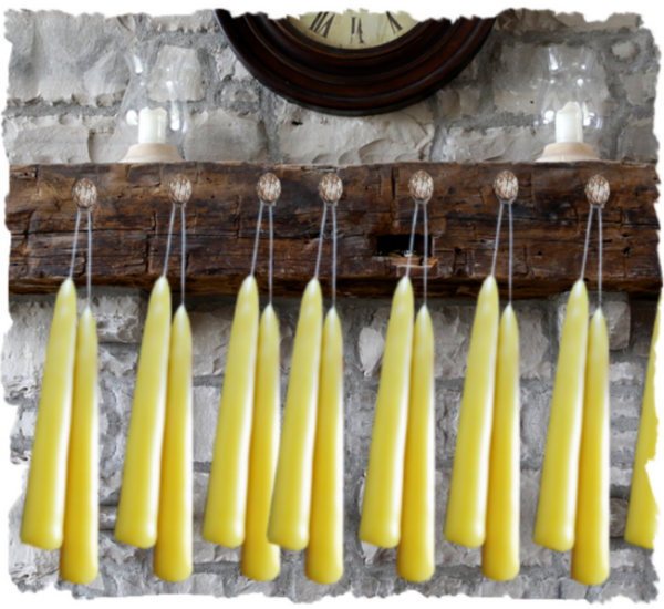"6"" Beeswax Taper Candle 3 Pair - Granny Kate's"