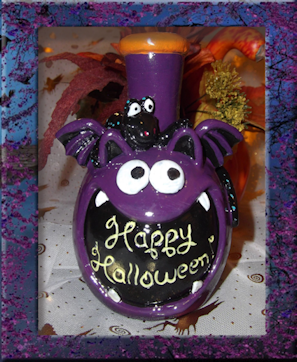 Halloween Bottle Candle Holder - Granny Kate's