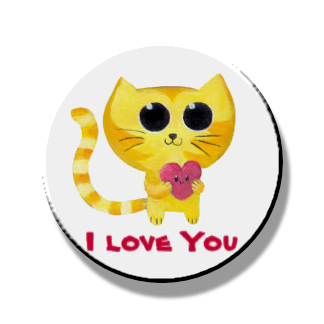Love You Kitty Magnet or Pin