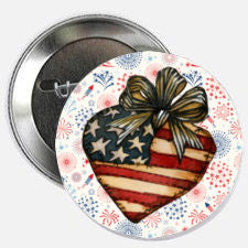 Patriotic Heart Magnet or Pin