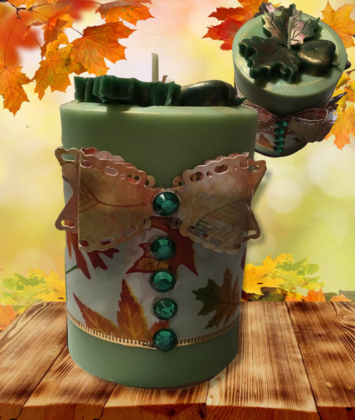 Autumn Leaves Pillar Candle