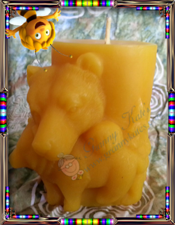 Beeswax Bear Pillar Candle - Granny Kate's