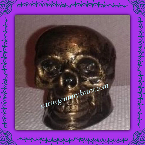 Bronze Look Skull Candle Holder - Granny Kate's