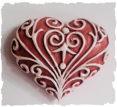 handmade resin filigree heart magnet