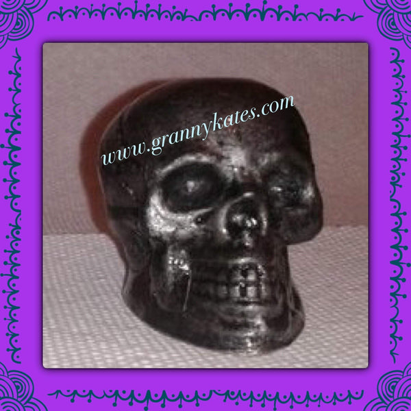 Pewter Look Skull Candle Holder - Granny Kate's
