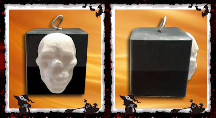 Two Tone Square Pillar Candle With Skull - Granny Kate's