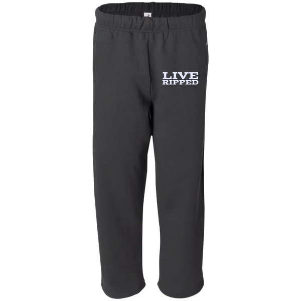 """Live Ripped"" Open Bottom Sweat Pant with Pockets"