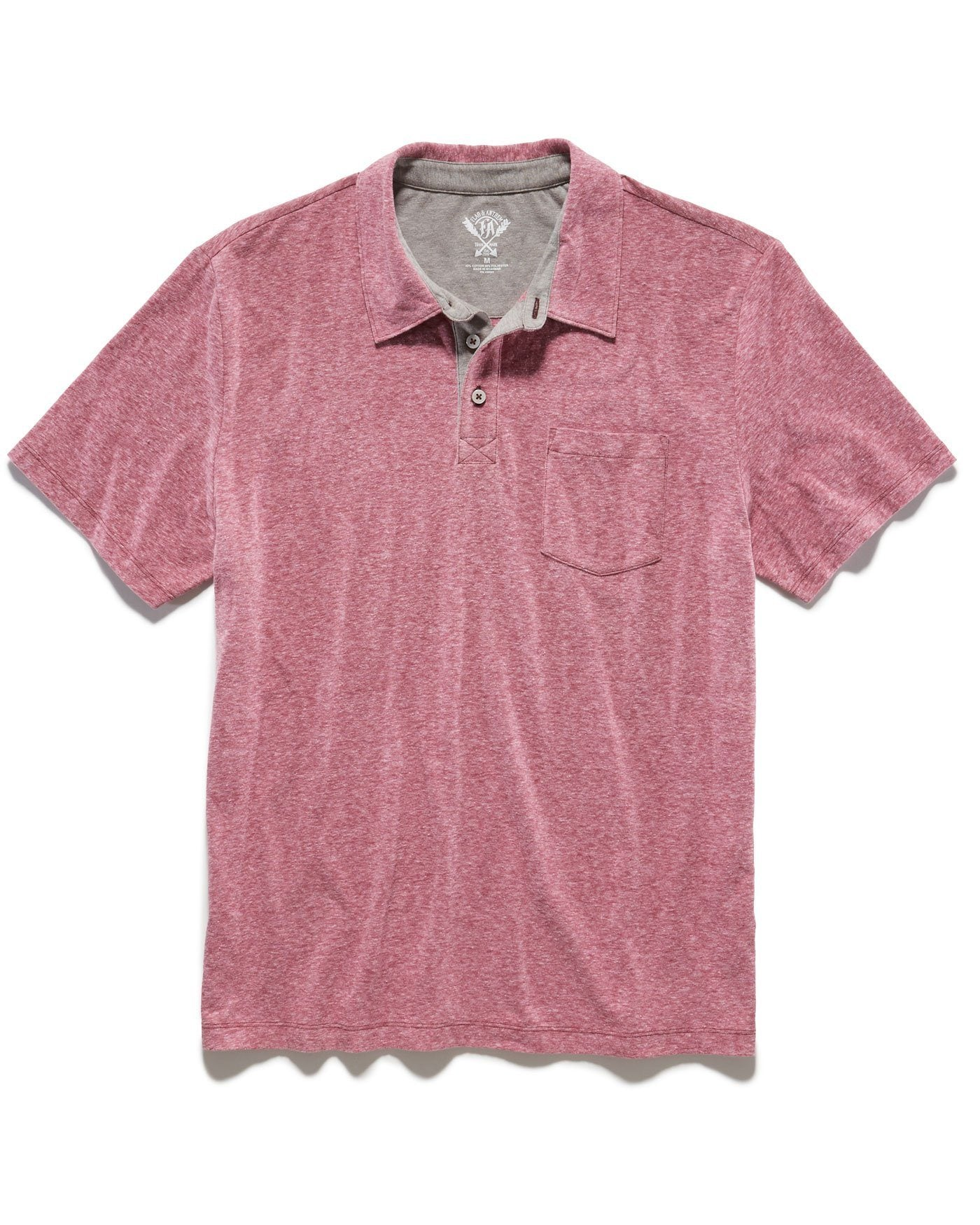 OSWEGO SNOW HEATHER POLO - BURGUNDY