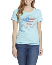 Desert Son Women's Tees - Freedom Riser Women's Tee - Light Blue (FINAL SALE)