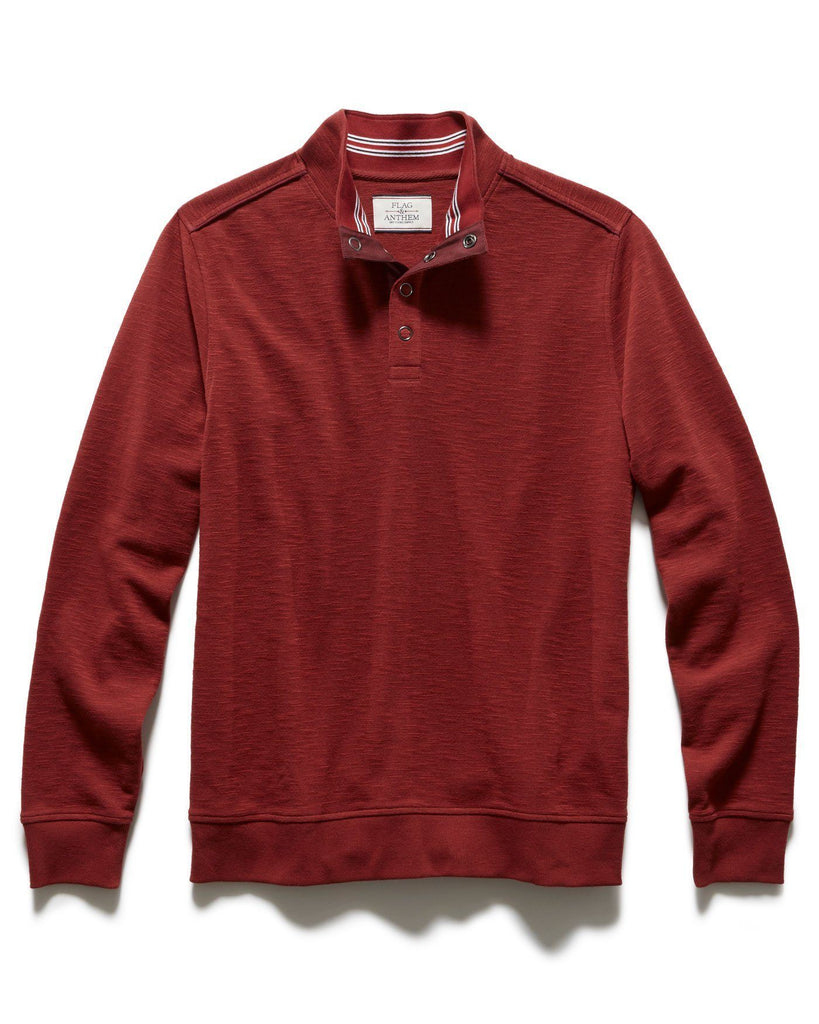 Sweaters - PERCELLVILLE 1/4  SNAP MOCKNECK - DARK RED