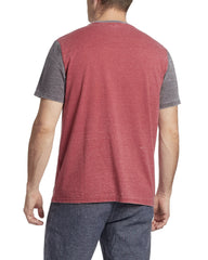 Tees - BRYANT BURNOUT TEE - RED COMBO