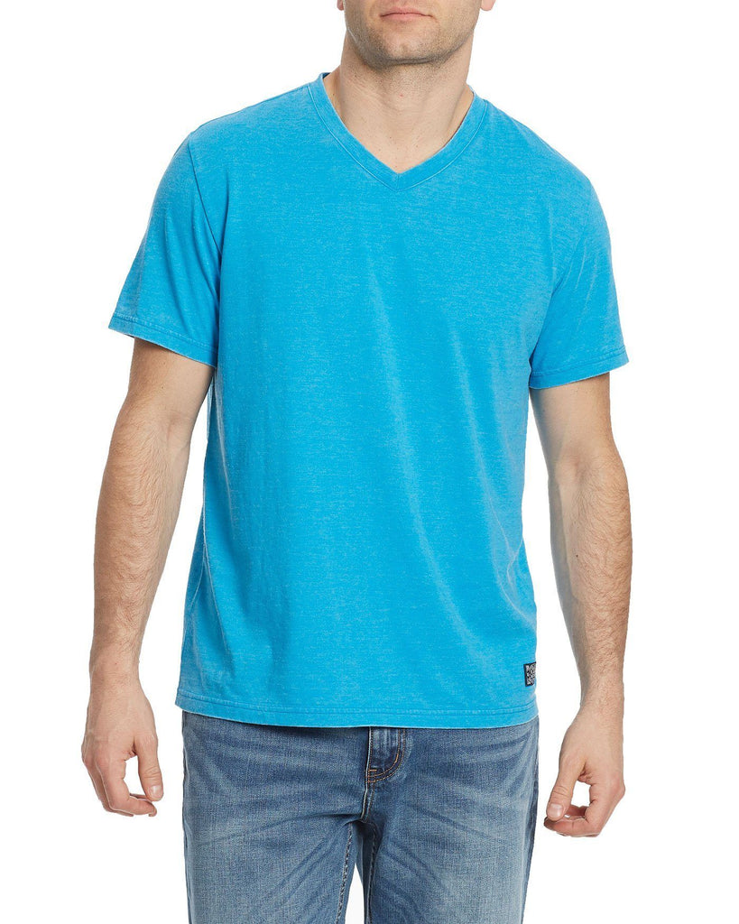 Tees - KINSTON BURNOUT V-NECK TEE - TEAL