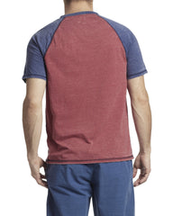 Tees - LANEBURG BURNOUT HENLEY - RED COMBO