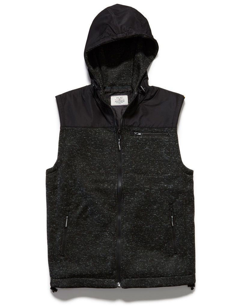 Vests - CHASE HOODED VEST - BLACK MARL
