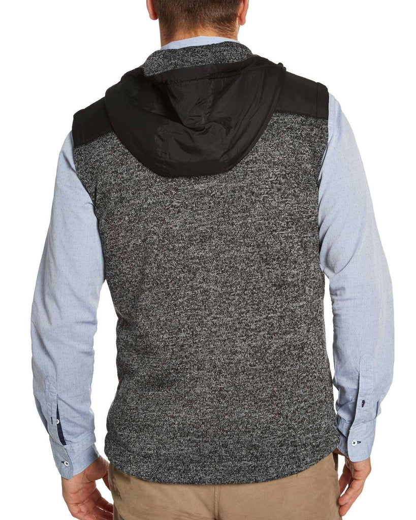 Vests - CHASE HOODED VEST - CHARCOAL/BLACK MARL