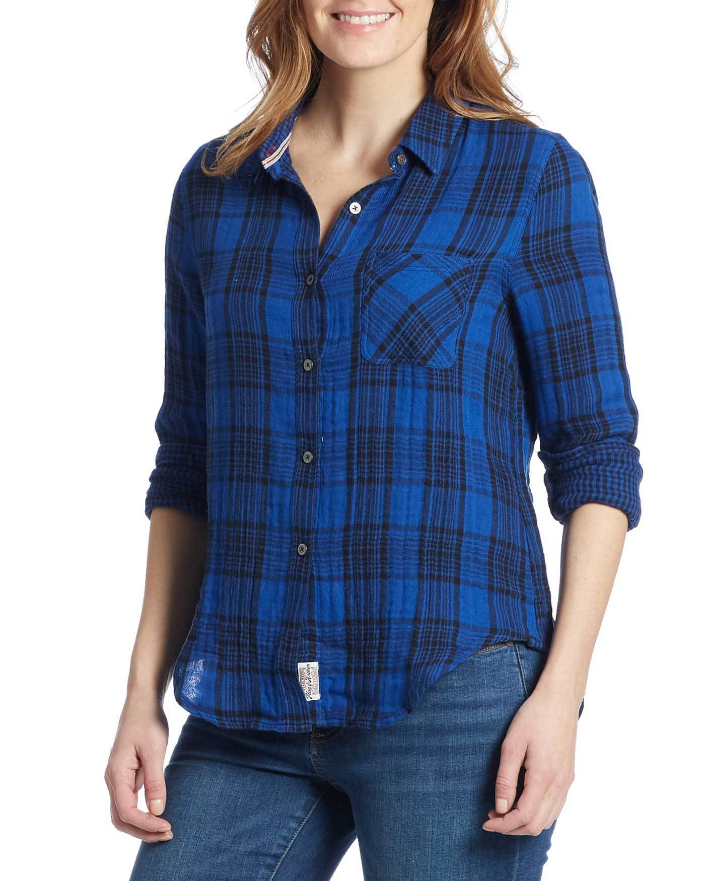 Women's Shirts - BELLAMY WOMEN'S DOUBLE LAYER SHIRT - BLUE/BLACK