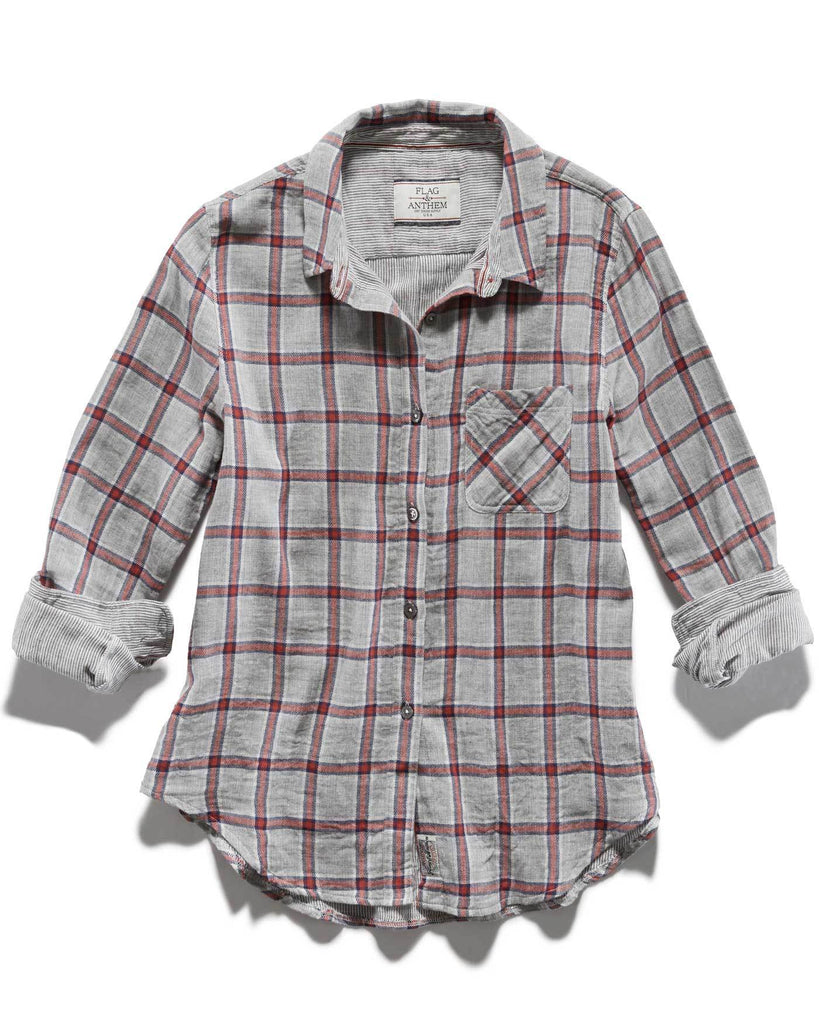 Women's Shirts - MERRIFIELD WOMEN'S DOUBLE LAYER SHIRT - GREY PLAID