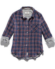 Women's Shirts - MERRIFIELD WOMEN'S DOUBLE LAYER SHIRT - NAVY PLAID