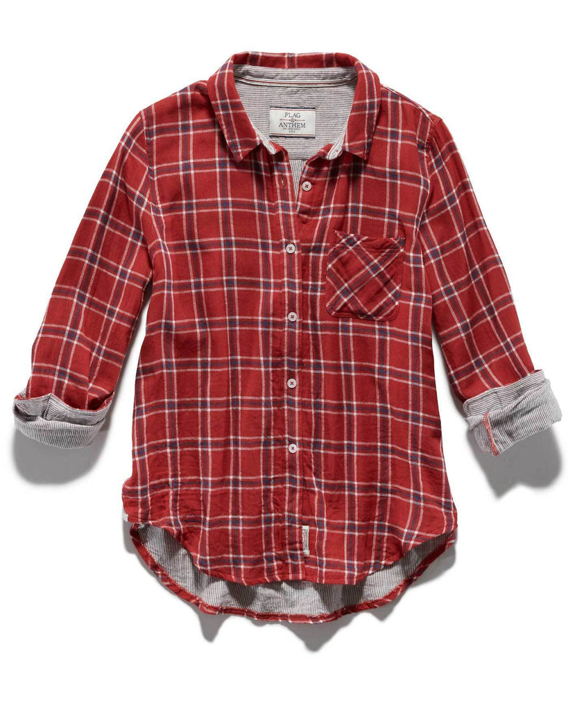 Women's Shirts - MERRIFIELD WOMEN'S DOUBLE LAYER SHIRT - RED PLAID
