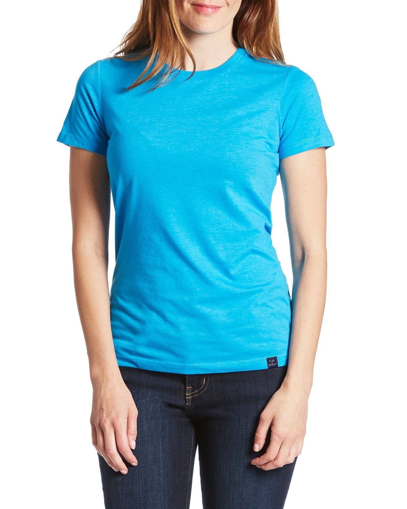 Byrnedale Womens Tee Neon Blue Final Sale Flag Anthem