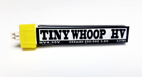 TINY WHOOP HV 255mah 1s Lipo BATTERY - POWERWHOOP (PW) Connector type - Tiny Whoop
