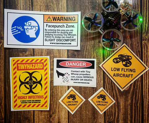 Warning Sign Sticker Set - Tiny Whoop - Tiny Whoop