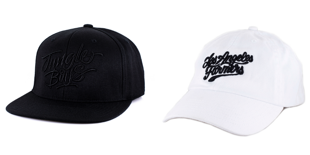Stacked Snapback in Black and Black, Los Angeles Farmers Dad Cap