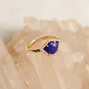 Bloom with Brilliance 18KT Lapis Diamond Ring - Satya Jewelry