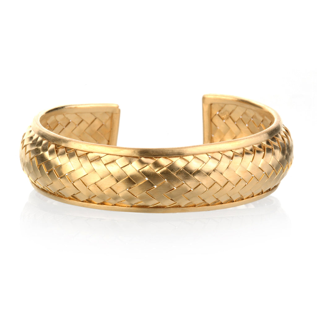 Small Gold Basketweave Bracelet Cuff
